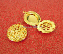 20x5mm Golden tone Plated Brass Mini Round Filigree Essential Oil Aromatherapy Diffuser Perfume photo Locket Pendant Charms(China)