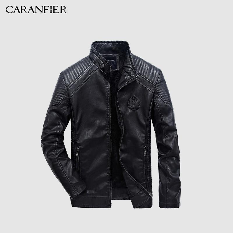 CARANFIER 2017 hombres chaqueta Otoño Invierno moda PU Faux cuero chaquetas hombres buena calidad casuales para hombre delgado chaqueta caliente XXXL