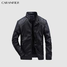 CARANFIER Mens עור מעילי סתיו חורף PU מעיל גברים בתוספת קטיפה הלבשה עליונה Biker אופנוע זכר קלאסי שחור מעיל M 5XL