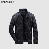 CARANFIER Mens Leather Jackets Autumn Winter PU Coat Men Plus Velvet Outerwear Biker Motorcycle Male Classic Black Jacket M 5XL