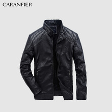 CARANFIER メンズレザージャケット秋冬 PU コート男性プラスベルベットの上着バイカーオートバイ男性古典的な黒ジャケット M 5XL