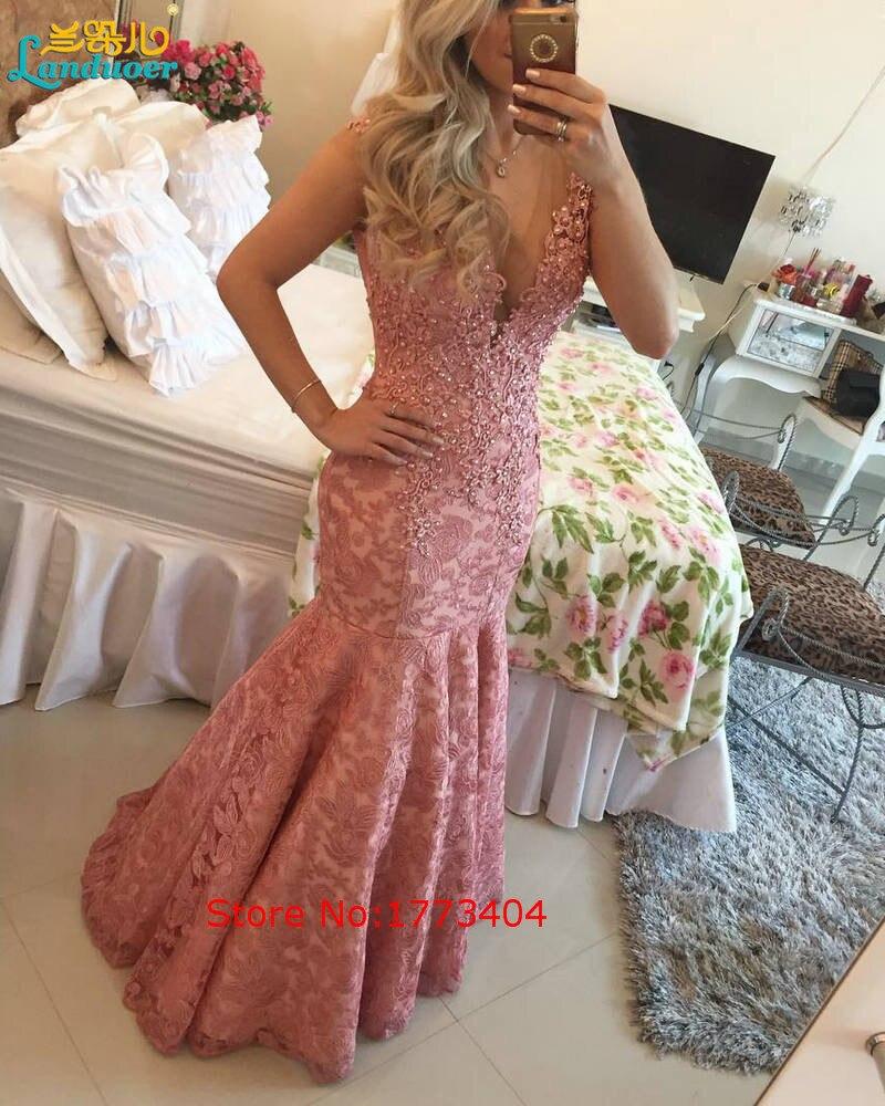 Largo Con Cuentas de Encaje de Color Rosa Vestidos de Noche del V-cuello vestido