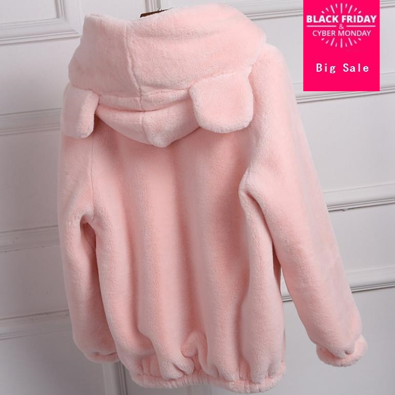 Gris Mignon black Oreille Survêtement D'hiver L244 Blanc Grande Plunew Rose Taille Capuche Fourrure pink 3xl S De 2018 À Beige Manteaux Noir Lapin gray Décontracté Faux 4nEZWW7
