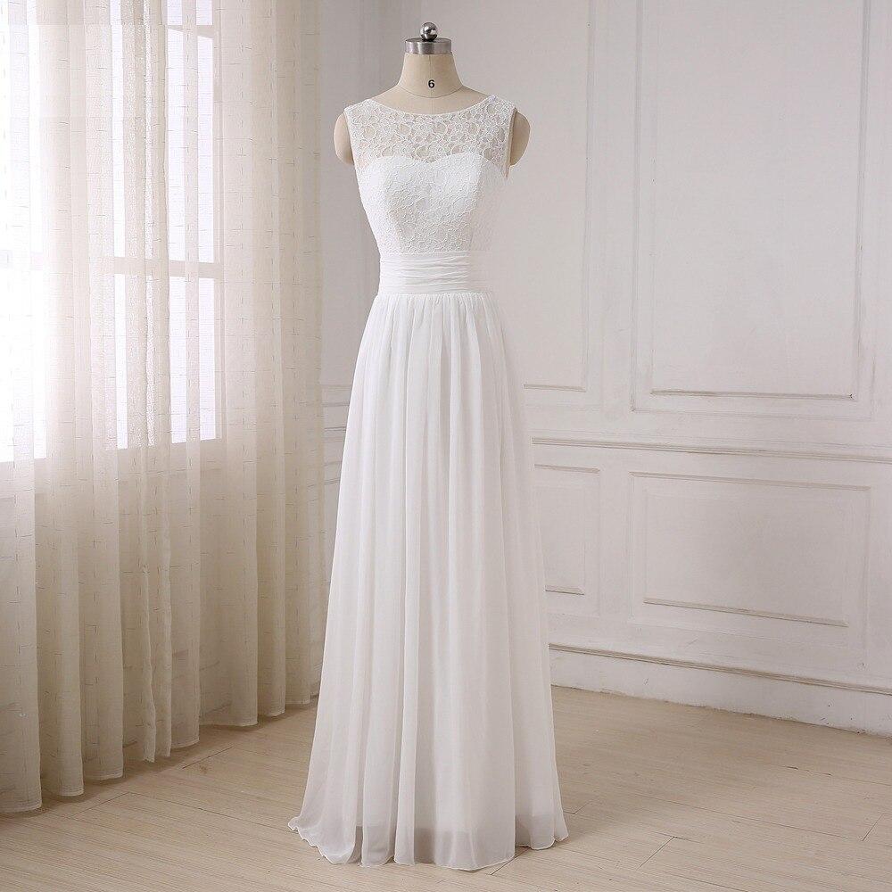 676b703d9ce7 ADLN Chiffon Beach Bohemian Wedding Dresses Scoop Sleeveless Cheap Lace Bridal  Gowns Plus Size Robe de