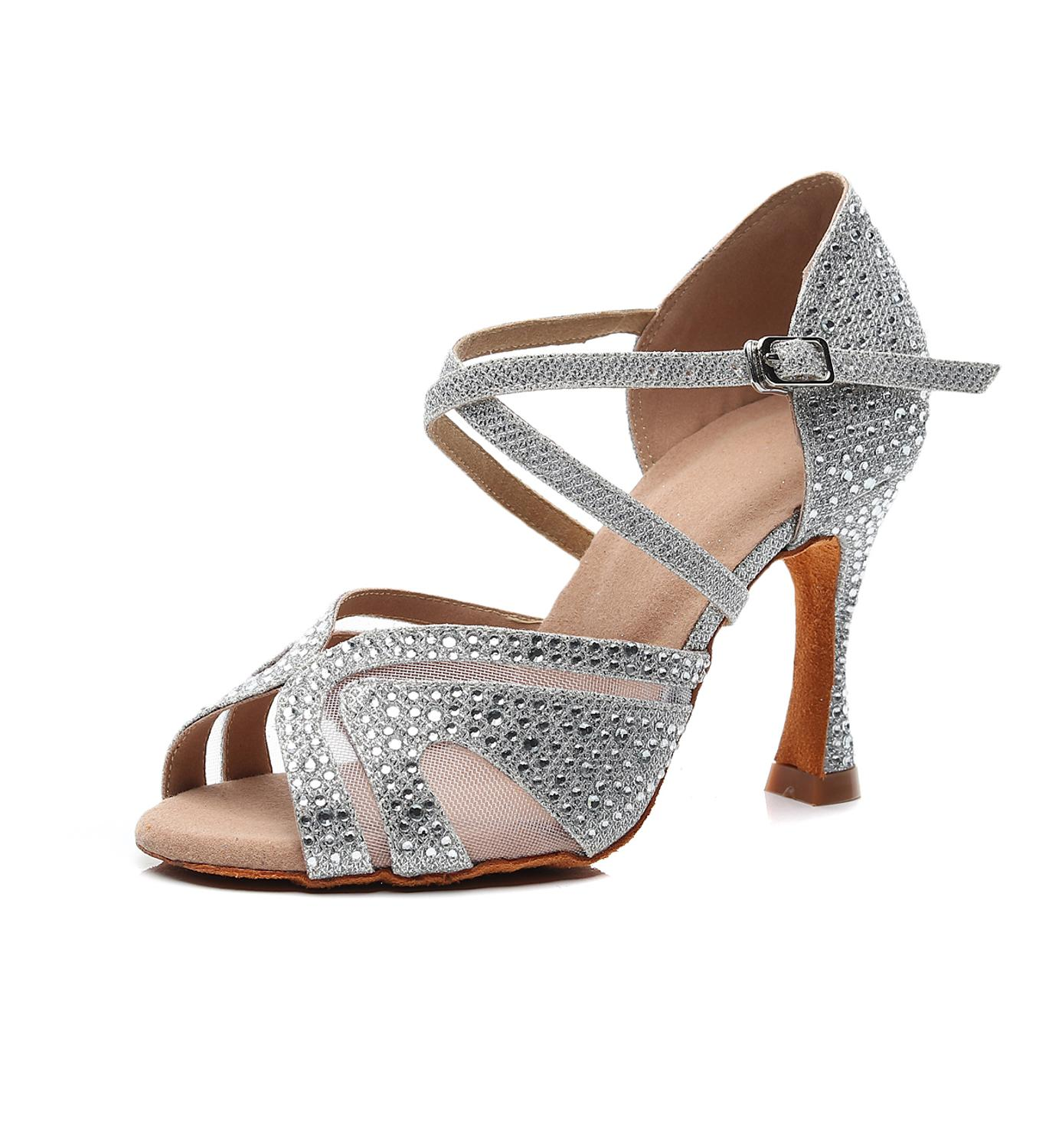 Fashion Jazz Salsa Ballroom Latin Dance Shoes For Dancing Women Chinese Dances High Heels Rhinestone Sequined Summer Sandals