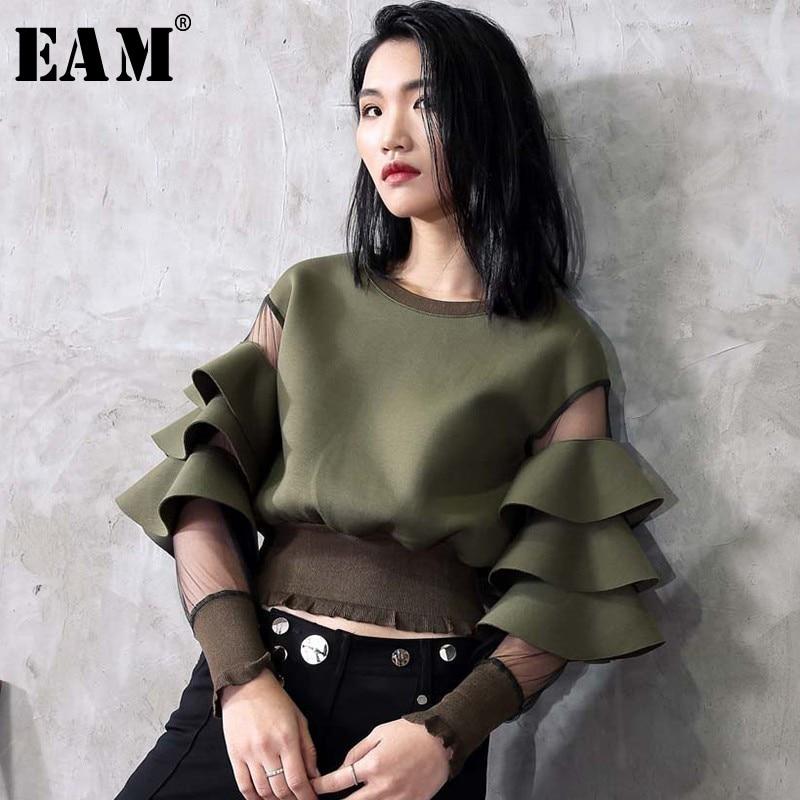 [EAM] 2019 New Spring Round Neck Long Sleeve Gauze Split Joint Lotus Leaf Edge Army Green Sweatshirt Women Fashion Tide JC509