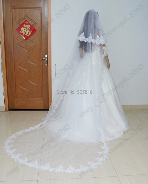 White 2 Layers Three-dimensional Lace Edge with Beading Wedding Bridal Veil Cathedral Length SEM-043