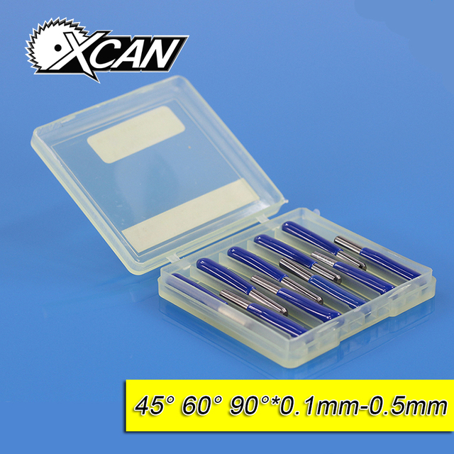 XCAN  10Pcs 3.175mm Tungsten Steel V Shape Carbide PCB Engraving Bits CNC Router Tool 45 60 90 Degree 0.1mm Machine Accessories
