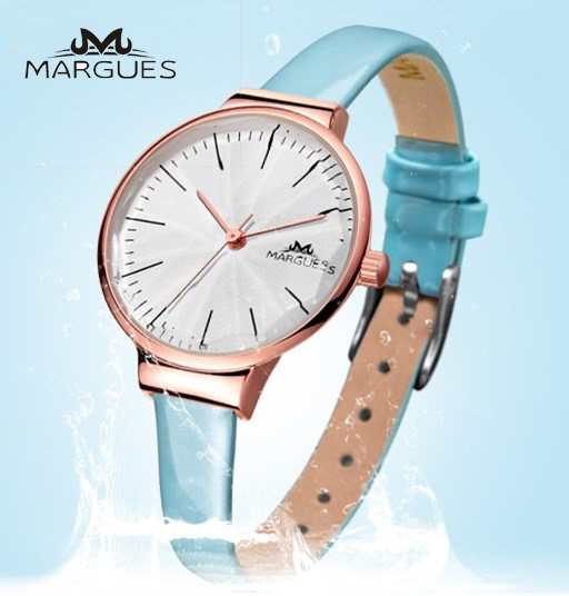 Women Watches MARGUES brand Quartz watch Pearl Fritillary dial Scale fashion Solid color slim leather strap girl clock 051