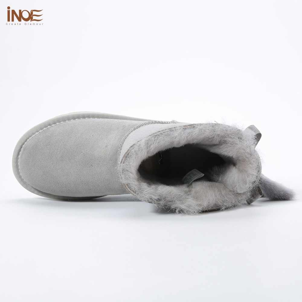 INOE נשים קרסול חורף שלג מגפי עור כבש פרווה מרופד ומינק פרווה גדילים באיכות גבוהה חשכה ורוד blackwinter נעליים TG1