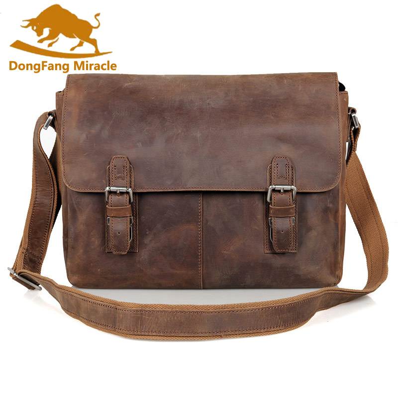 DongFang Miracle Crazy Horse Leather Vintage Genuine Leather Messenger Bag High Quality Crossbody Shoulder Bag 15'' Laptop Bag dongfang miracle high quality genuine leather men messenger bags casual shoulder bag male multifuntional small bag