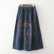 2016 New women Long Maxi Vintage National Trend Embroidered Elastic Waist Skirt Denim Jeans Flower Blue Skirts G294