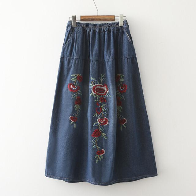 2016 Nova mulheres Long Maxi Tendência Nacional Do Vintage Bordado Cintura Elástica Saia Jeans denim Flor Azul Saias G294