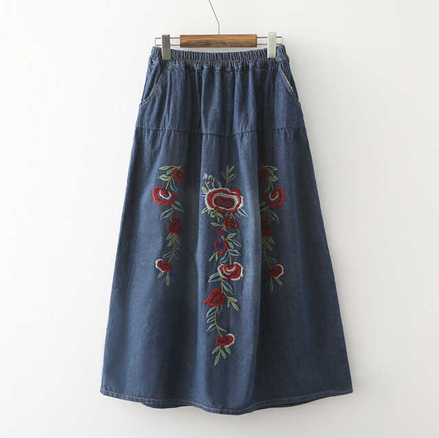 2016 Nuevo de las mujeres de Largo Maxi de La Vendimia de la Tendencia Nacional Bordada Falda de Cintura Elástica Denim Jeans Flor Azul Faldas G294