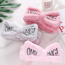 "US $1.82 21% OFF|New Letter""OMG"" Coral Fleece Soft Bow Headbands For Women Girls Cute Hair Holder Hairbands Hair Bands Headwear Hair Accessories-in Women's Hair Accessories from Apparel Accessories on Aliexpress.com 