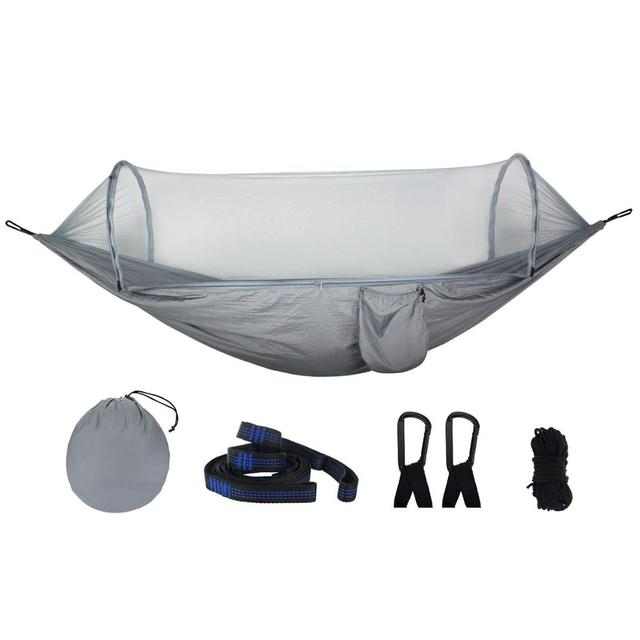 OEM New pattern fully automatic quick open Portable Parachute Nylon Outdoor mosquito net camping hiking hammock