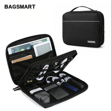 купить Bagsmart New Double Layer Electronics Travel Organizer Bag Waterproof Electronics Accessories Storage Bag Universal Cable Bags по цене 989.28 рублей