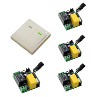 AC 220V Relay Wireless Remote Control Switch 4Pcs Receiver 1Pcs 86 White Wall Panel Transmitter Home