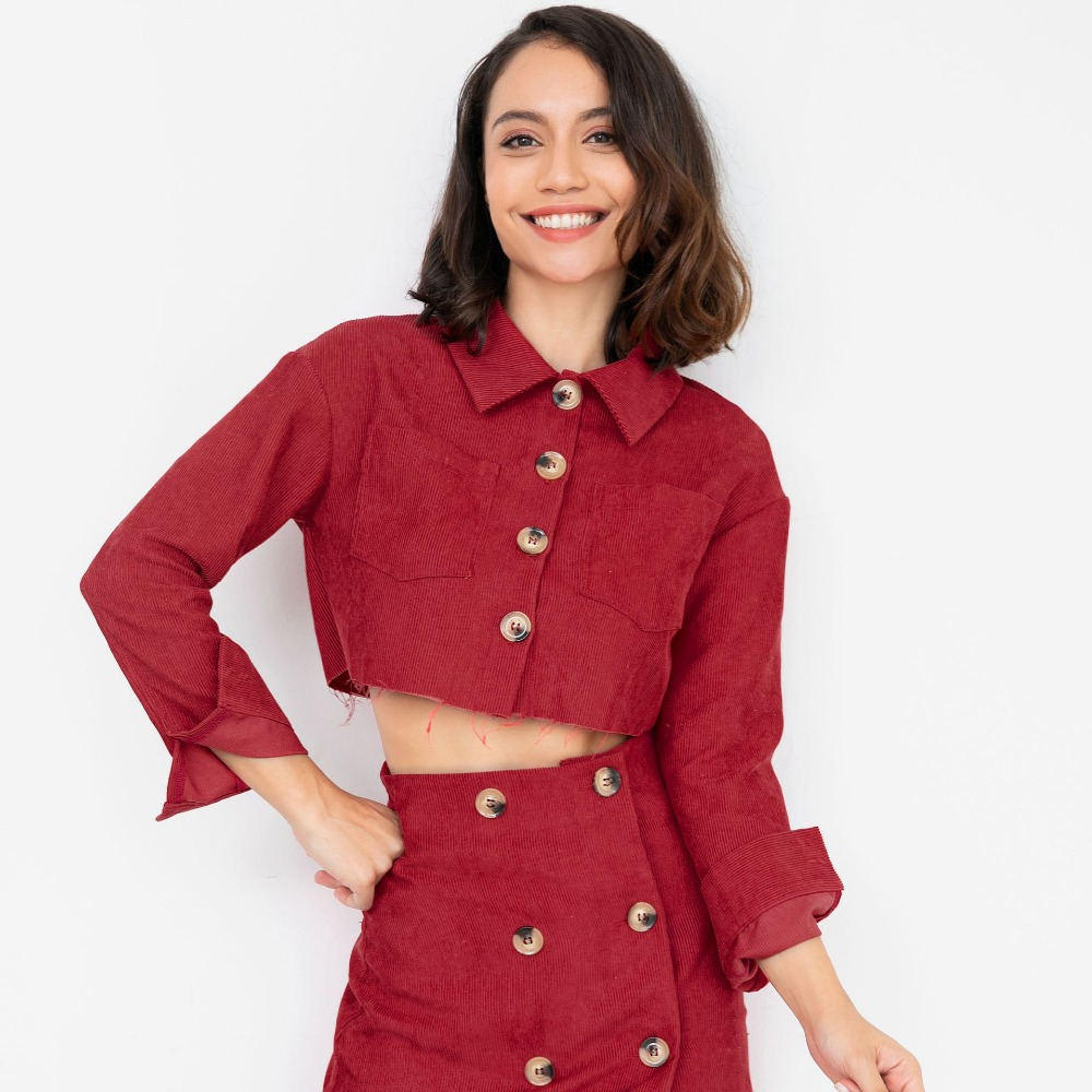 Vintage Female Corduroy Two Piece Set Red Yellow Crop Top And Skirt Set Turn down Collar Boyfriend Style Lady Jacket mini skirt