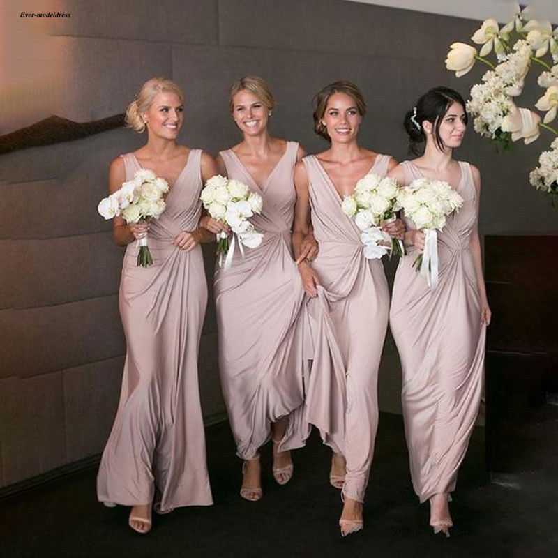 Long   Bridesmaid     Dresses   2019 V Neck Ankle Length Sleeveless Simple Wedding Guest Party Gowns Maid Of Honor Custom Made