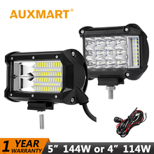"Auxmart 5"" 144W LED Work Light Offroad 4"" 114W LED Light bar Combo Working fog Lamp LED 12V 24V ATVs SUV truck Fork lift 4x4 4WD(China)"