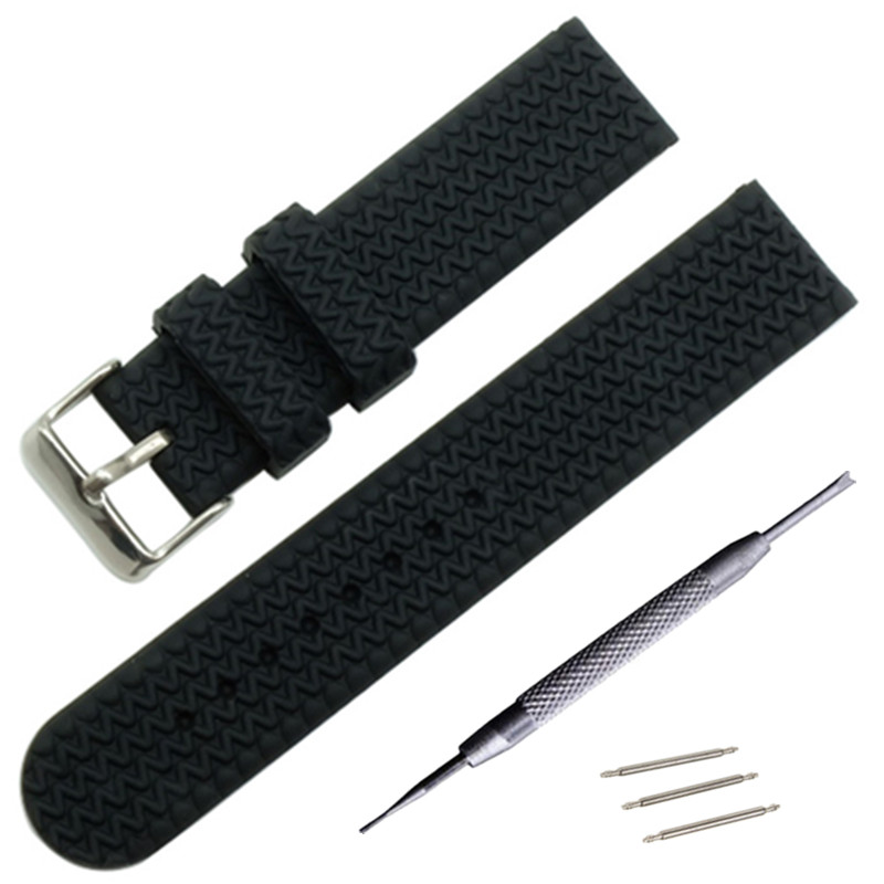 New 16mm 18mm 20mm 22mm Men's Women's Silicone Rubber Watch Strap Band Tread Waterproof Resin + Thicken Buckle +Tool