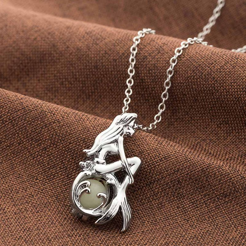 Jewelry with Glow in the Dark Necklace Silver Color Beauty Fishtail Pendant Luminous Stone Neklace for women ...