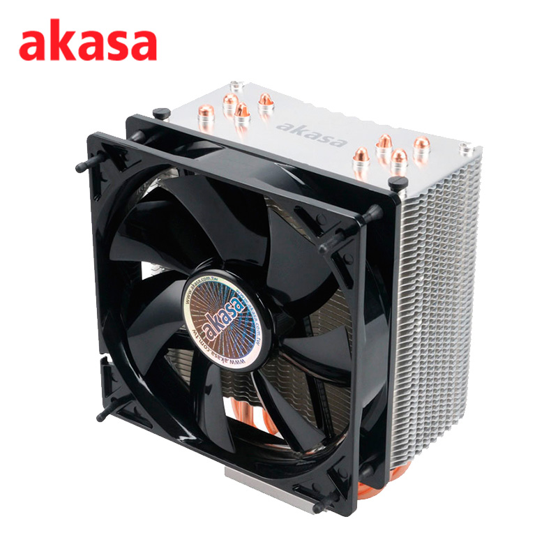 AKASA Cooling Fan 120mm PC CPU Cooler 4Pin PWM 12V Cooling Fans 4 Copper Heatpipe Radiator for Intel LGA775/1136 for AMD AM2+ pcooler s90f 10cm 4 pin pwm cooling fan 4 copper heat pipes led cpu cooler cooling fan heat sink for intel lga775 for amd am2