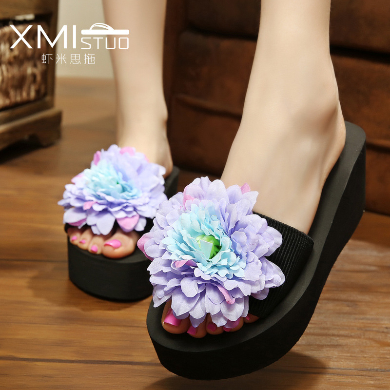 b83b1e3c4014 summer Slippers women seaside Holiday Flowers Thick bottom Muffin cake  Human character flip flop Beach Slope shoes woman
