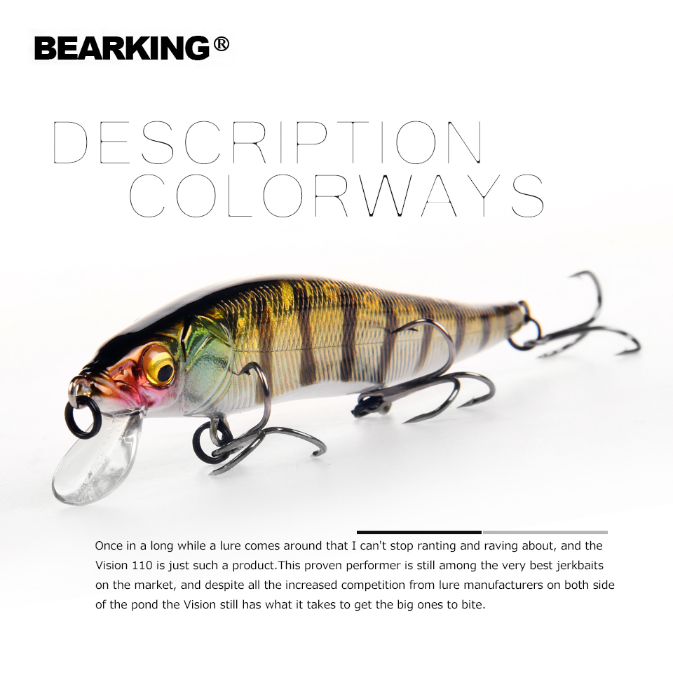 2018 Bearking marca W01 dura pesca Minnow 11 cm 14g calidad cebos buceo profundo Wobblers aparejos de pesca envío gratuito