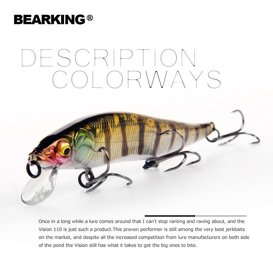 2018 Bearking marca W01 dura pesca Minnow 11 cm 14g calidad cebos buceo profundo Wobblers aparejos de pesca envío gratis