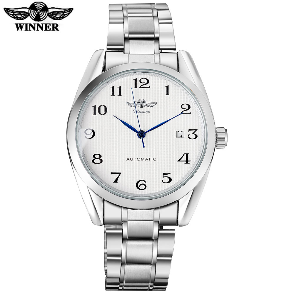 2017 WINNER famous brand men fashion automatic self wind watches white dial transparent glass silver case stainless steel band fashion 40mm pranis silver dial full stainless steel sapphire glass automaic self wind mechanical men s business watch