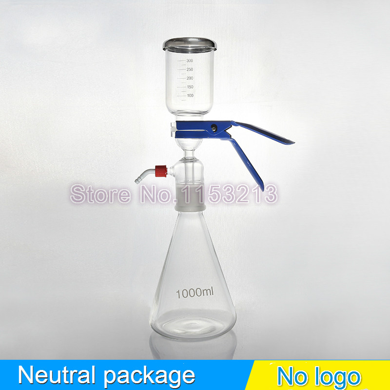 1000ml Solution filter bottle Vacuum filtration device Sand core Solvent suction filter unite with filter cup