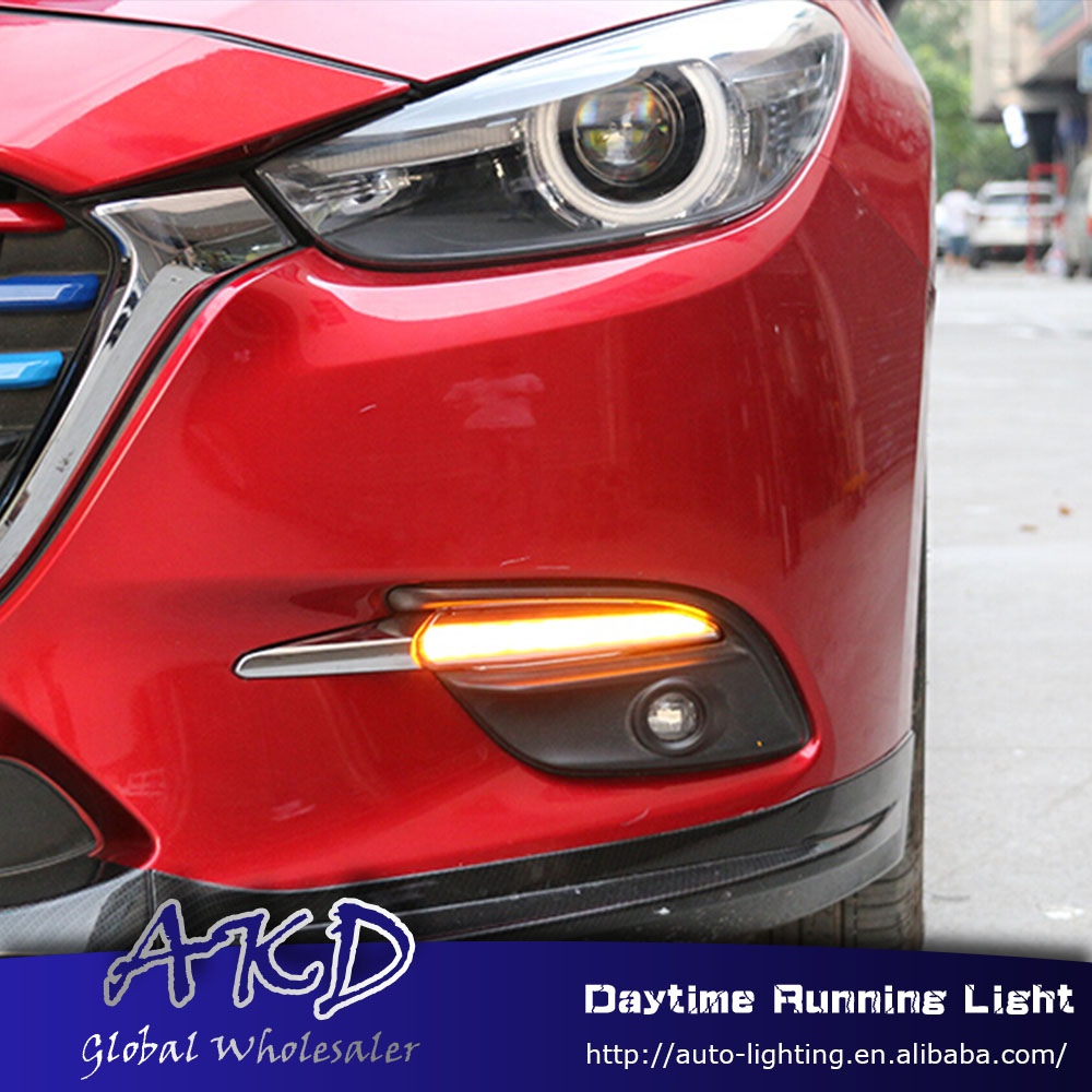 AKD Car Styling for New Mazda 3 Axela 2017 LED DRL for Mazda 3 M3 Turn Signal LED Running Light Fog Light Parking Accessories akd car styling led drl for kia k2 2012 2014 new rio eye brow light led external lamp signal parking accessories