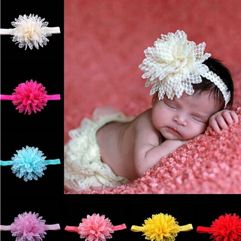 Wholesale Infant Headbands Shabby Flowers Pearl Rhinestone Chiffon Flowers Baby Headband Girls hair Accessories w42