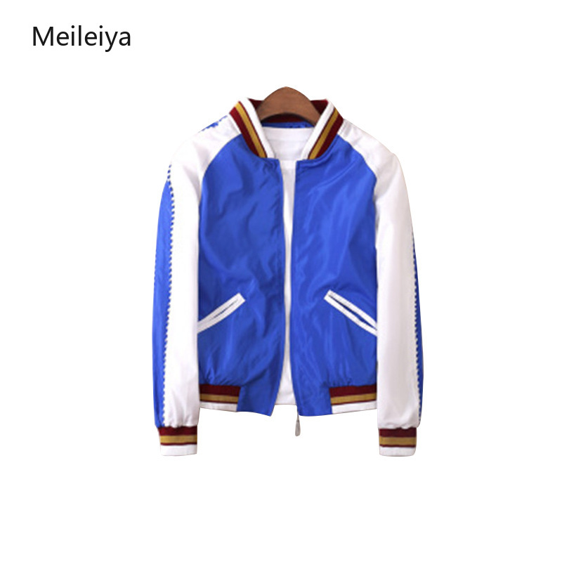Women Windbreaker   Jacket   Female Multicolor Patchwork   Jacket     Basic     Jackets   Blue&white Block Coats for Women