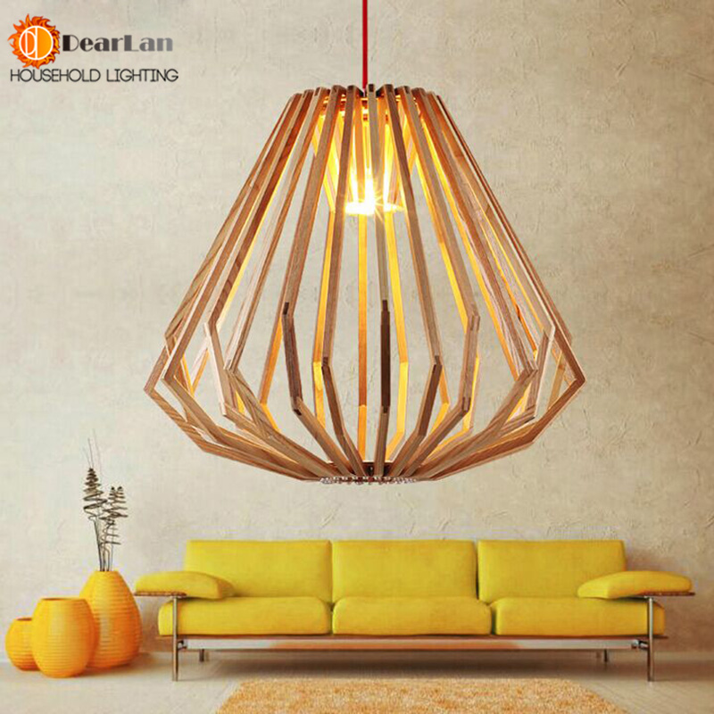 fashion modern pendant light european simple wooden cone shape wood pendant lamp home bedroom lighting decor