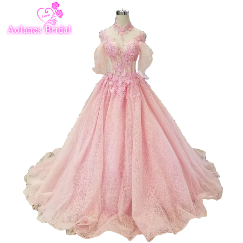 2019 Pretty Pink 3d Flower   Prom     Dresses   Half Puffy Sleeves Beads Crystal Lace   Prom   Gown High Neck Lace Up Evening Abendkleider
