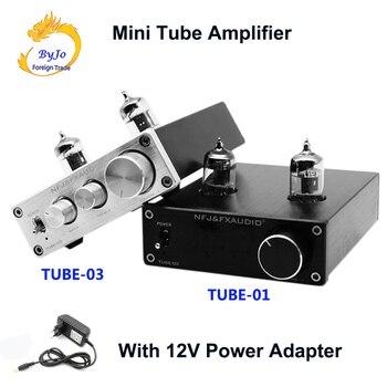 цена на FX-Audio TUBE-01 and TUBE-03 Mini Tube Preamp Tube Amplifier HIFI Preamplifier Treble Bass Adjustment With DC12V Power Plug