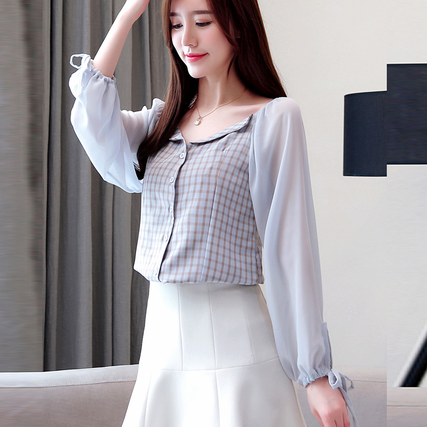 New Women's Patchwork Blouses Shirt Long Lantern Sleeve Slash Neck Off Shoulders Single Breasted Tops Casual Fashion T91501J 3
