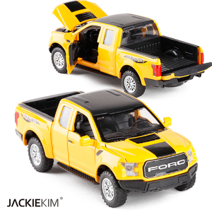 Image 2 - 1:32 F150 Pick up Truck Alloy Car Model Metal Diecasts Toy Vehicles Pull Back Flashing Sound For Kids Toy Free Shipping