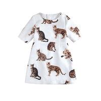 Дизайнер Для детей, на лето торжественное платье для малышей Обувь для девочек среднего рукавом-line Платья для женщин Mini Me парча поплин плать...