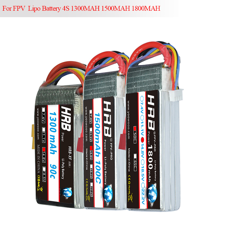 HRB FPV Racing High Discharge Rate <font><b>Lipo</b></font> <font><b>4S</b></font> 5S Battery 14.8V 18.5V 1300mAh <font><b>1500mah</b></font> 1800mah 50C-<font><b>100C</b></font> for Quadcopter Drone Heli image