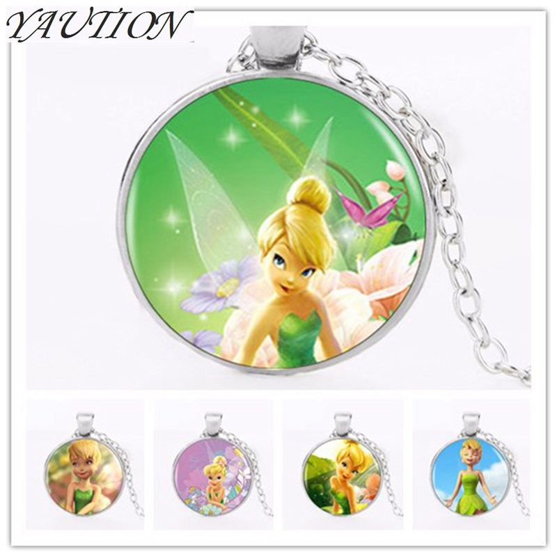YAUTION 2018 Logo Pendant Necklace Hot Sale Fashion Cute TinkerBell Necklace Accessories For Child Girls Bronze Necklace Jewelry