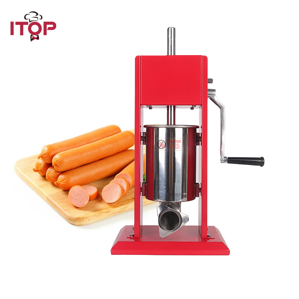 ITOP Manual Meat Sausage Stuffer Stainless steel bowl Spray-paintd Body Sausage Filler Salami Maker Stuffers homemade sausage meat stuffer stainless