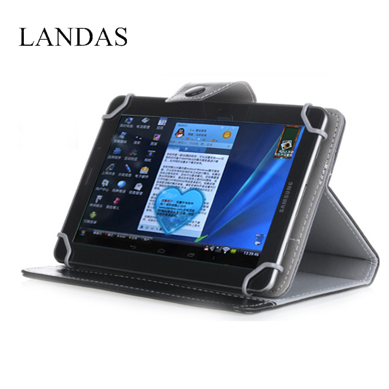 Landas Universal Tablet Case 7 8 9 Inch Four Angle Retractor Buckle tablet Crystal PU Leather Case Sheath For IPad Tablet Stand