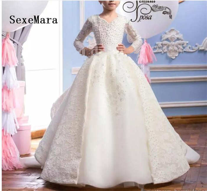 Exclusive Custom Made   Flower     Girl     Dress   For Wedding Ivory Satin Chiffon   Girls     Dress   Pearls High Quality Ball Gowns For Birthday
