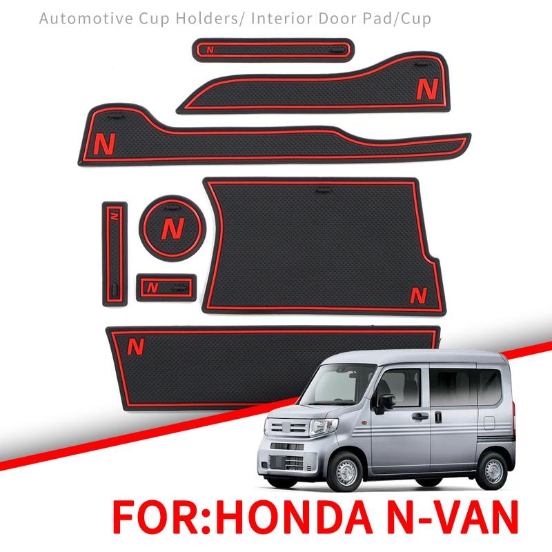 ZUNDUO Anti-Slip Gate Slot Mat For Honda N-VAN 2018 NVAN Interior Accessories Rubber Cup Holders Non-slip Mats Coaster