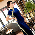 TIC-TEC women cheongsam long qipao chinese traditional dress oriental dresses velet vintage evening elegant clothes P2952