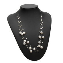 Genuine Freshwater Multilayer pearl necklace women,Fashion natural choker girls jewelry white wedding gift N026